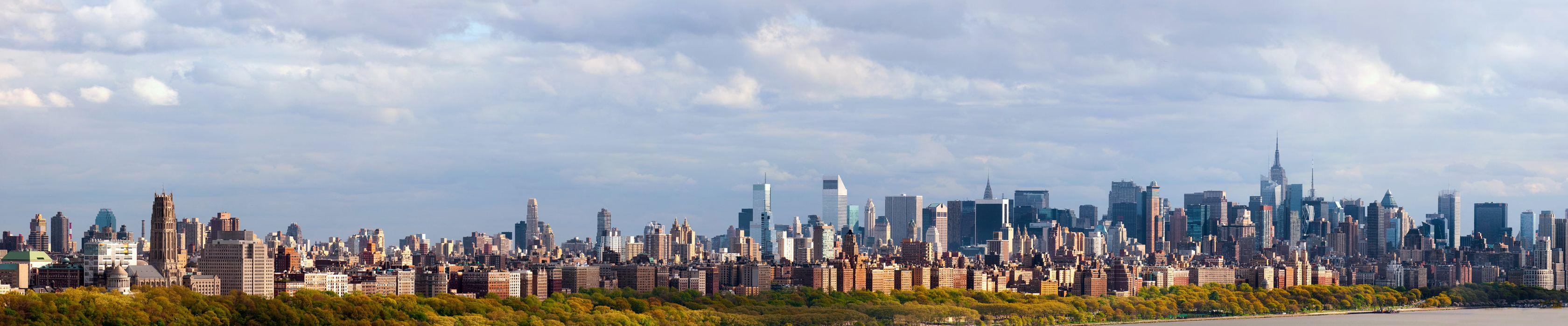 New York Manhattan autumn river     f wallpaper