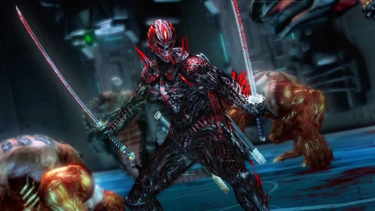 NINJA GAIDEN fantasy anime warrior weapon sword blood skull dark    f wallpaper