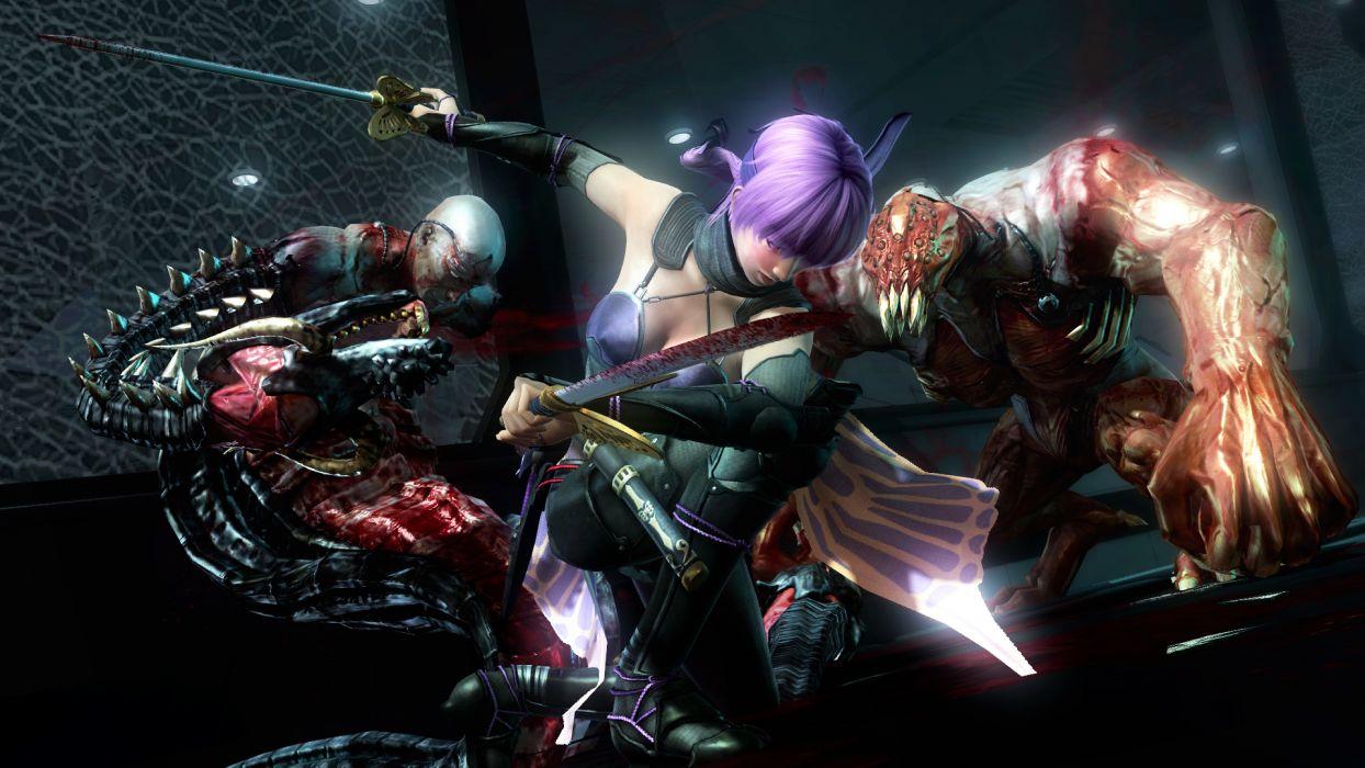 NINJA GAIDEN fantasy anime warrior weapon sword sexy babe battle blood monster     d wallpaper