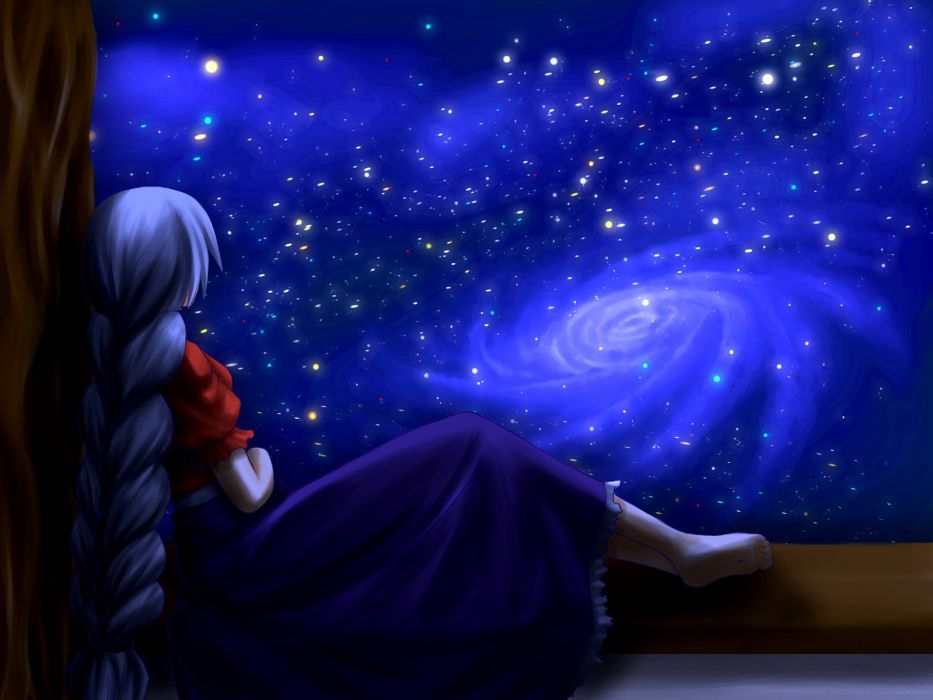 women video games Touhou outer space dress night back stars long hair blue hair nurses barefoot sitting braids Yagokoro Eirin anime girls skies wallpaper