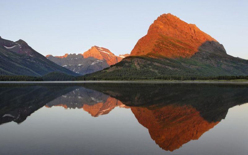 sunrise landscapes glacier National Park reflections Montana wallpaper