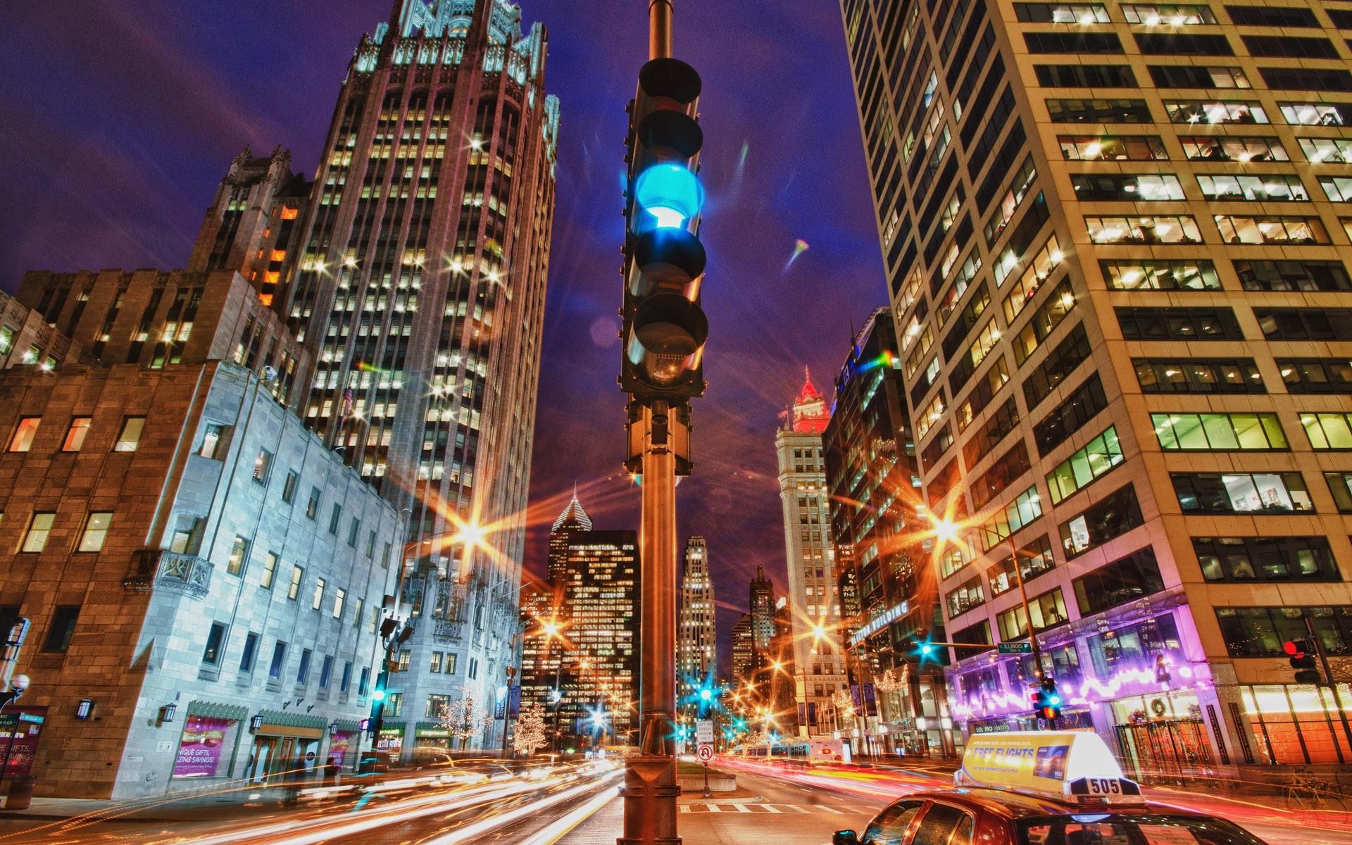 Light Cityscapes Night Traffic Lights Cities Wallpaper