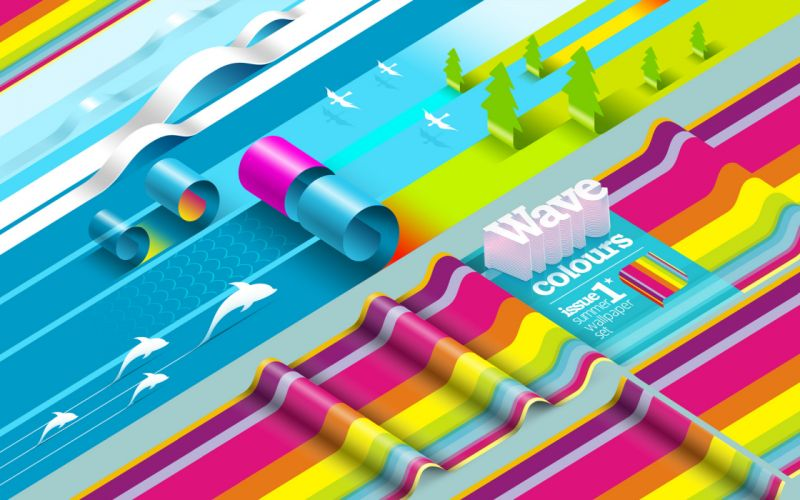 multicolor waves digital art wallpaper