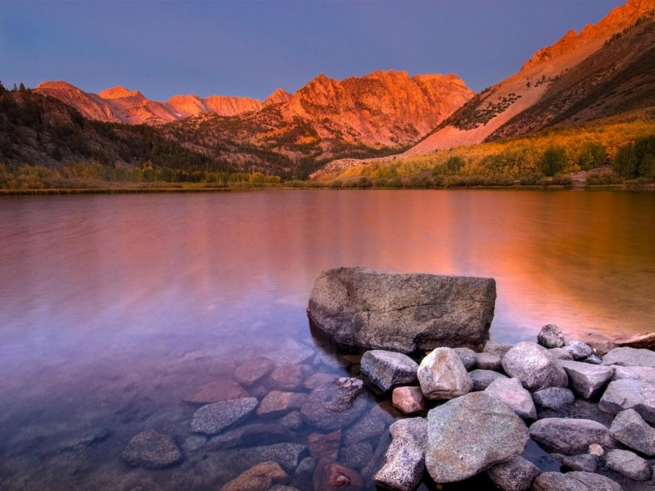 sunrise blue nature hills lakes wallpaper