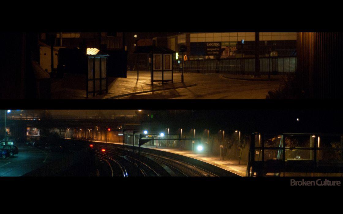 cityscapes night graffiti railroad tracks ymca broken-culture wallpaper