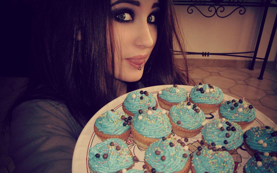 brunettes women cupcakes piercings Lolina Green Niky Macabre wallpaper