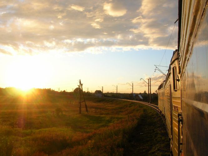 sunset landscapes trains wallpaper