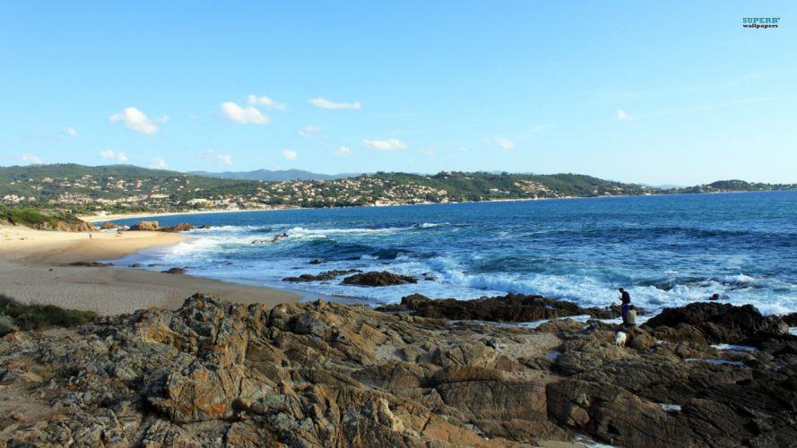 nature sand Corsica sea beaches wallpaper
