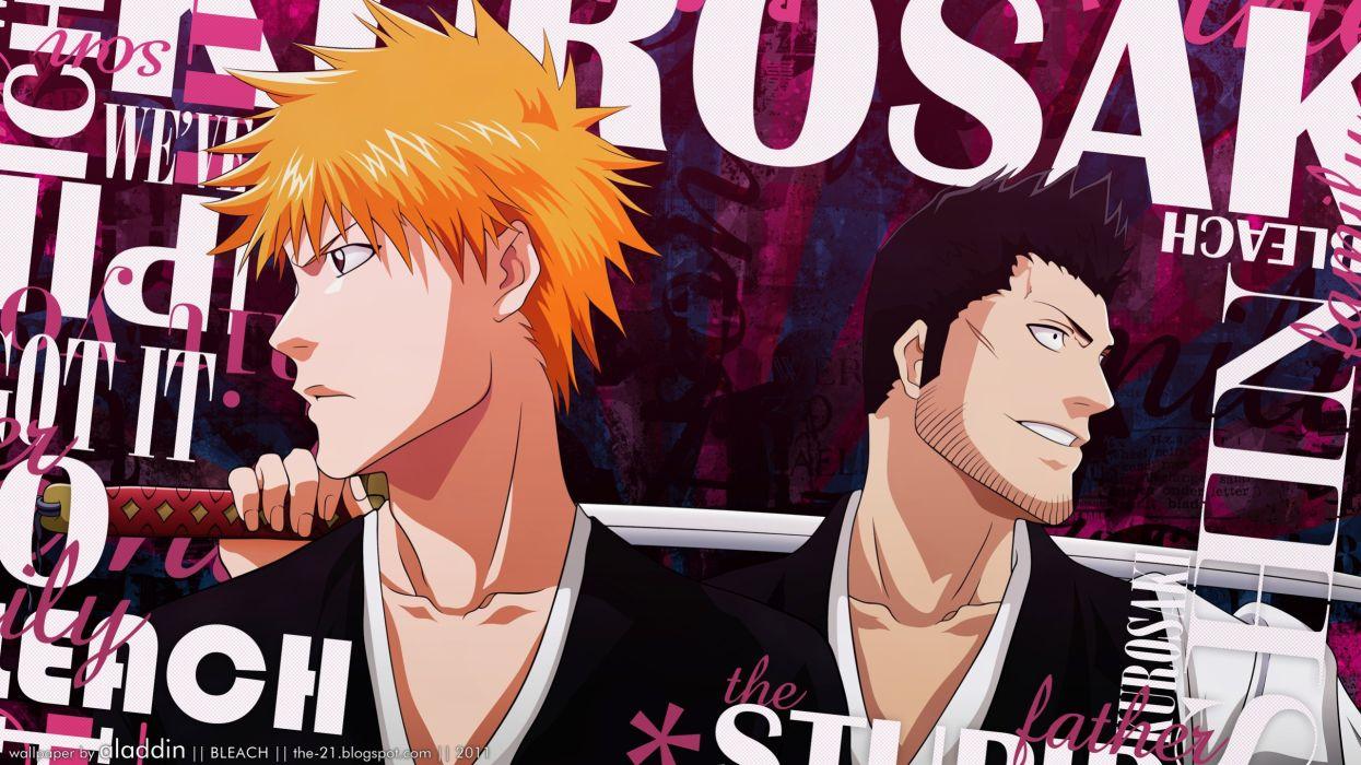 Bleach Kurosaki Ichigo typography anime swords Kurosaki Isshin wallpaper