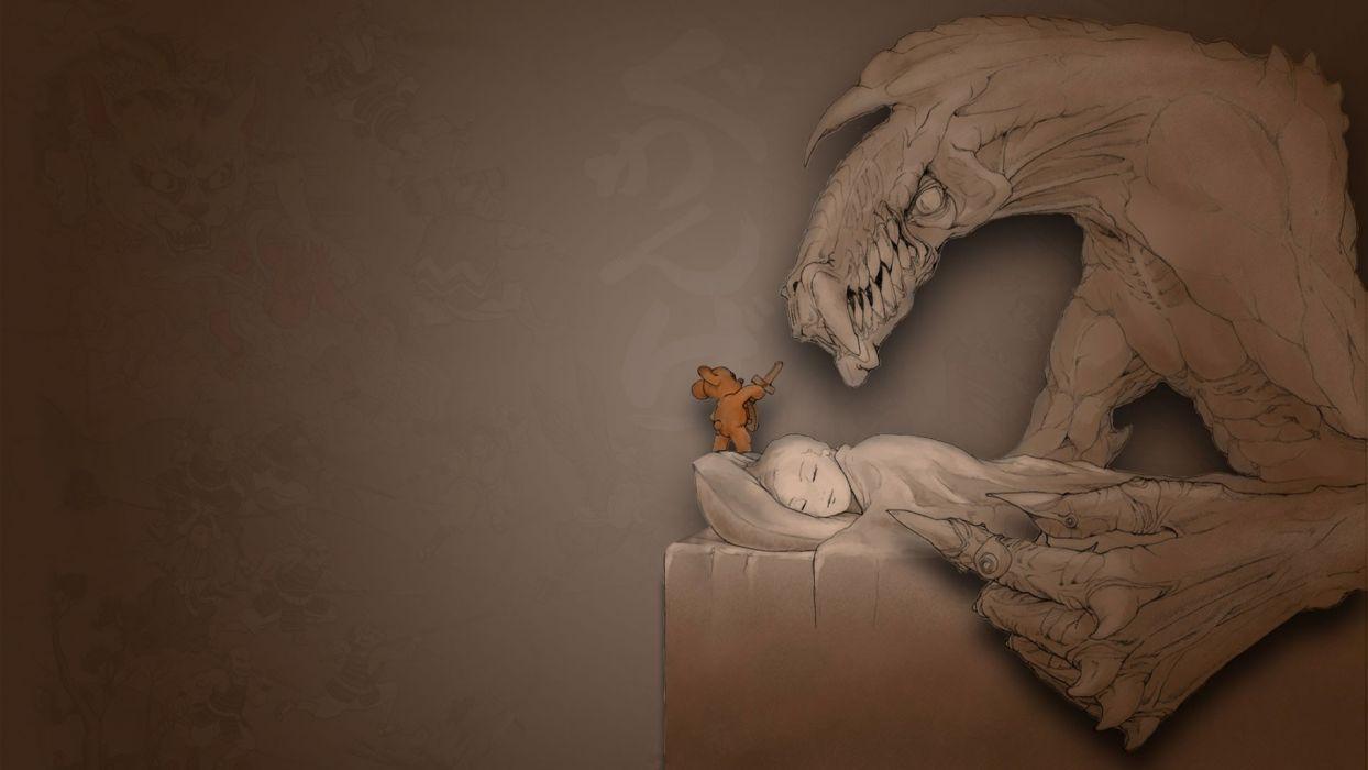 monsters sleeping artwork teddy bears wallpaper