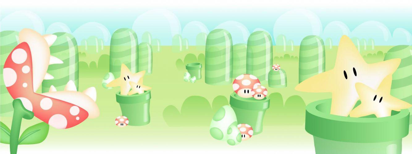 video games stars Mario mushrooms Super Mario Bros_ multiscreen Piranha Plant wallpaper