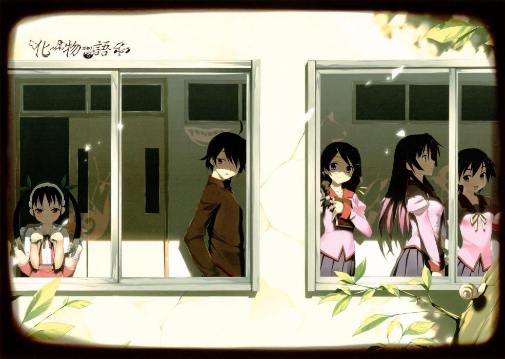 Bakemonogatari Araragi Koyomi Hanekawa Tsubasa Hachikuji Mayoi Senjougahara Hitagi Kanbaru Suruga Monogatari series wallpaper