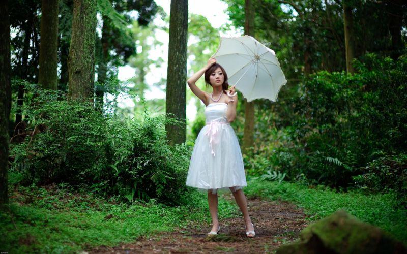 women plants Asians umbrellas white dress Mikako Zhang Kaijie wallpaper
