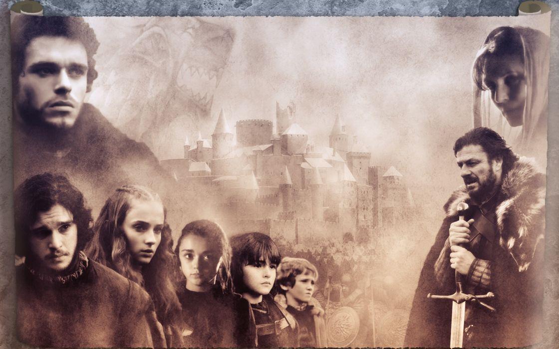 castles fantasy art TV series Eddard 'Ned' Stark Jon Snow Sansa Stark Robb Stark Arya Stark Sophie Turner (actress) HBO wallpaper