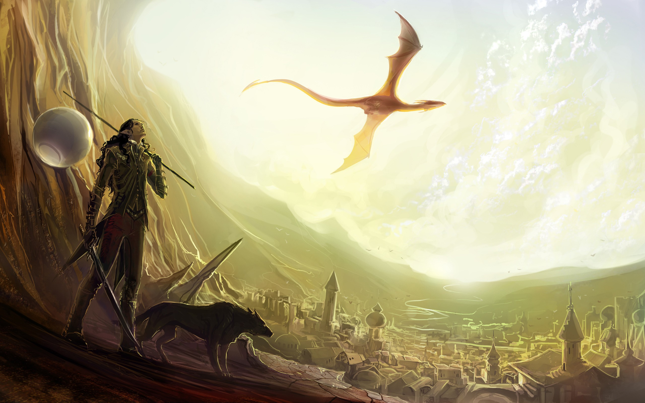 wings cityscapes dragons flying weapons fantasy art armor
