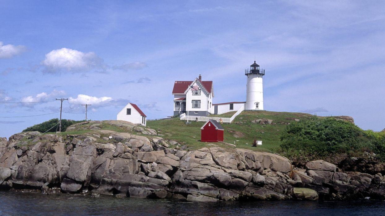 Maine point lighthouses York beaches wallpaper