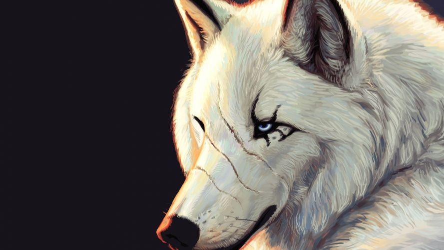 animals artwork wolves wallpaper