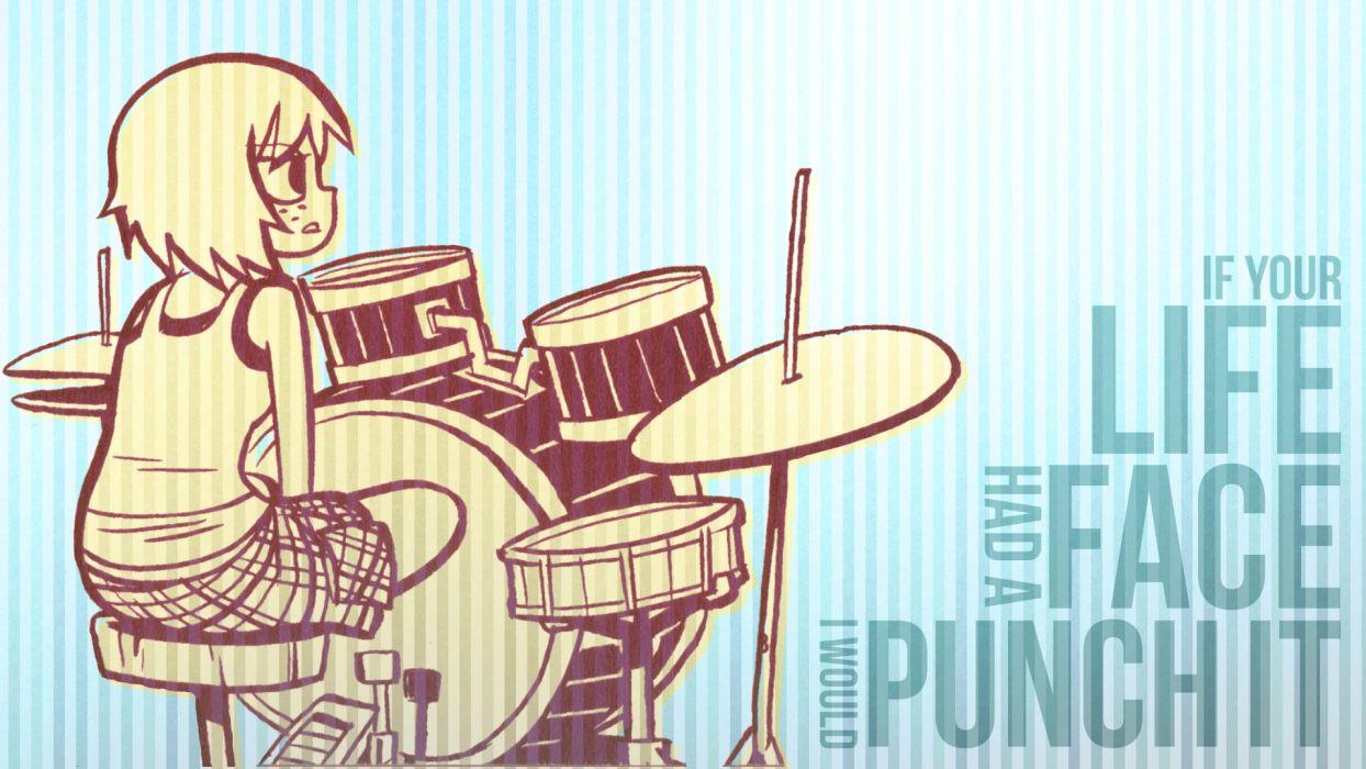 typography Scott Pilgrim Kim Pine drum set faces stripes wallpaper