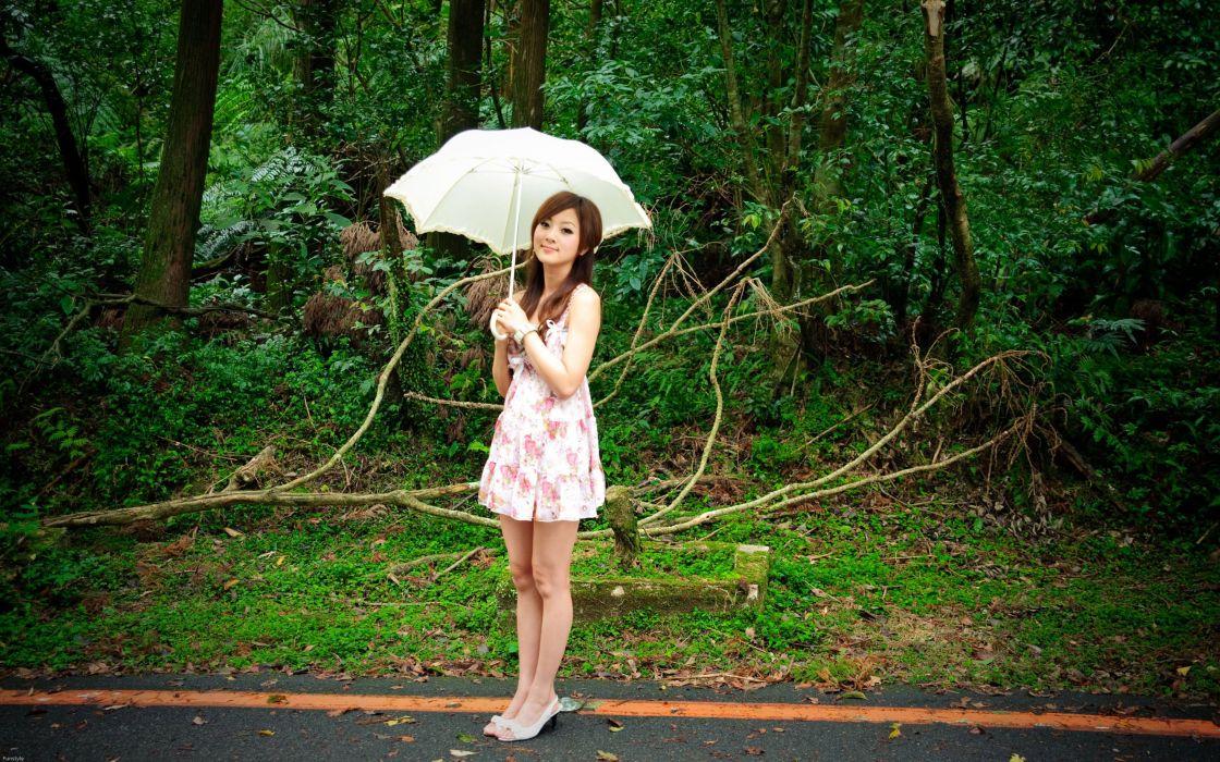 brunettes women plants Asians umbrellas Mikako Zhang Kaijie wallpaper