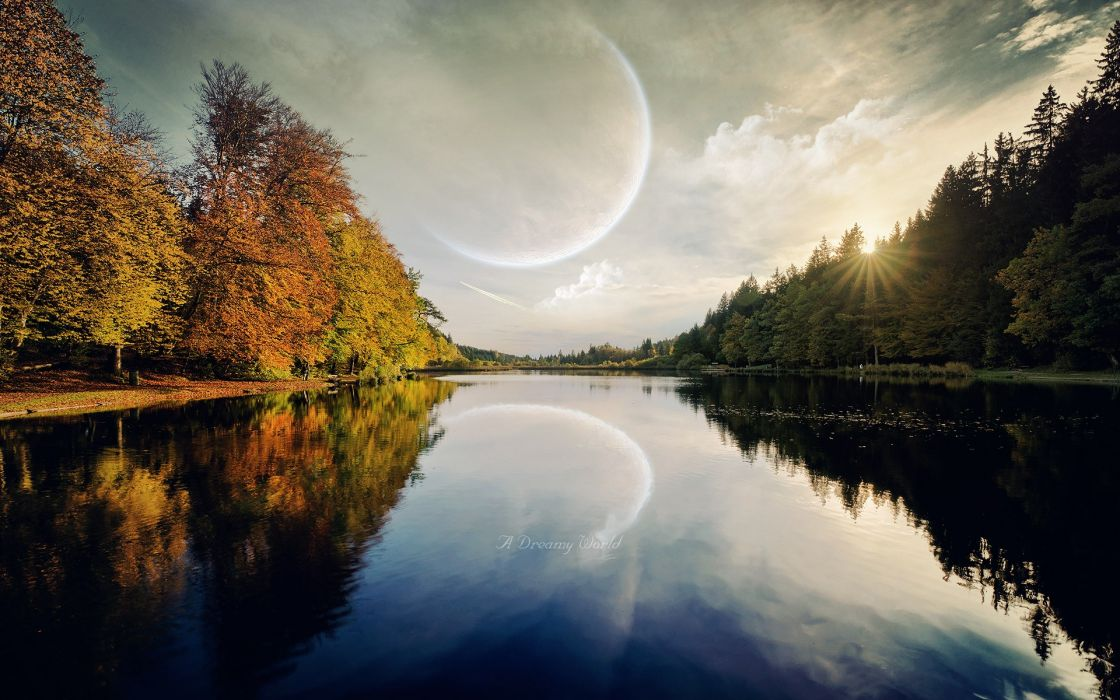 trees planets Moon digital art science fiction dreamy rivers reflections wallpaper