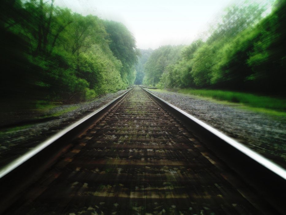 green railroad tracks wallpaper