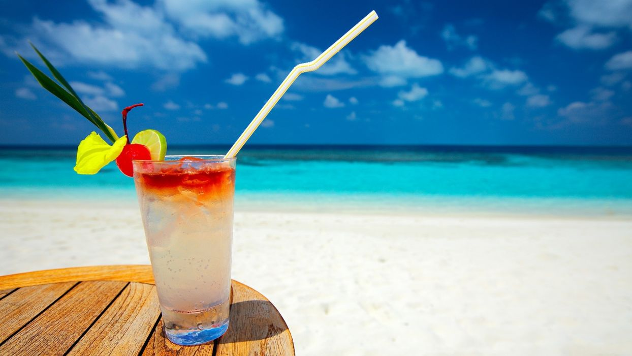 tropical cocktail holidays beaches wallpaper