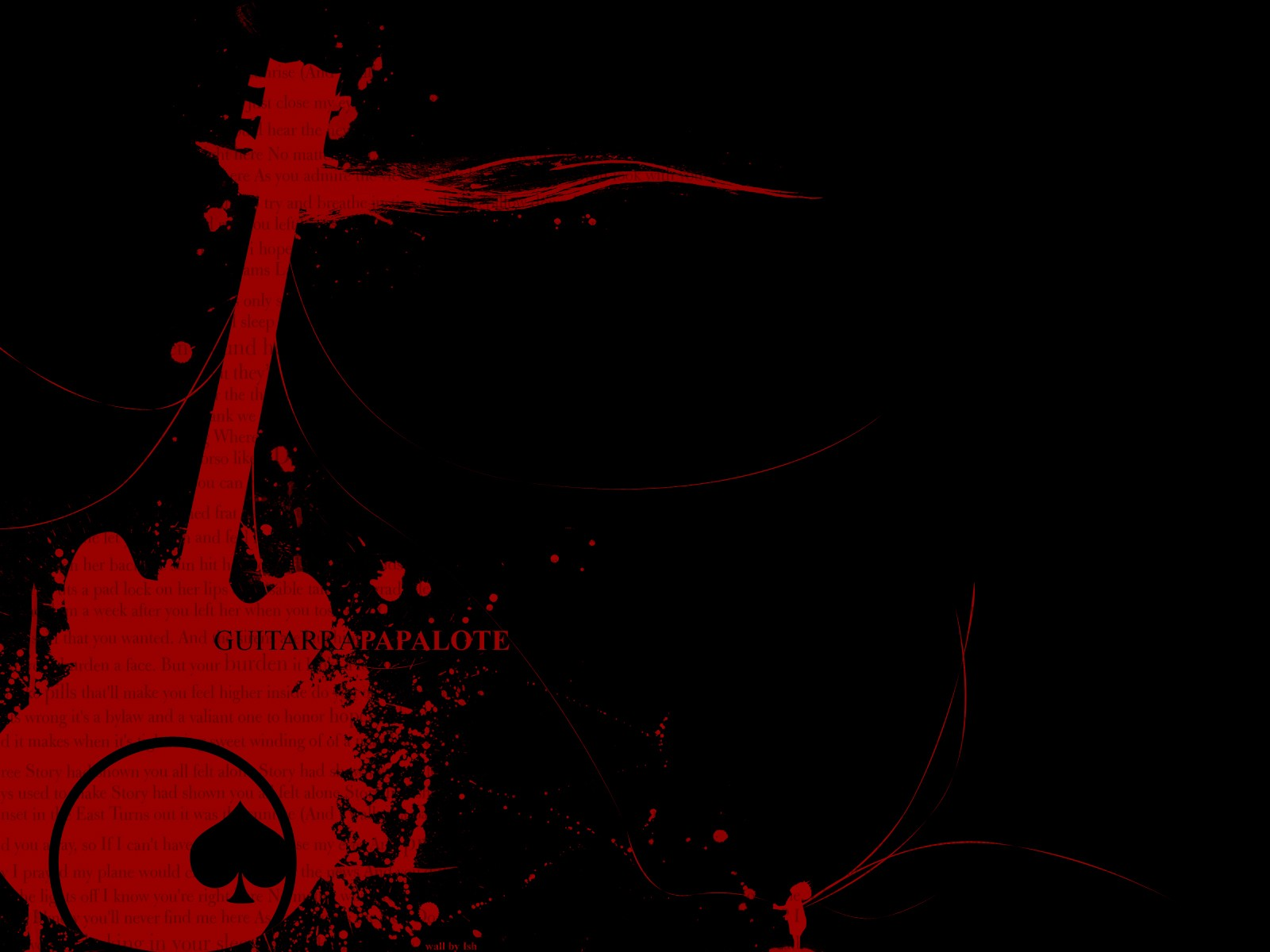 red guitars black background wallpaper 1600x1200