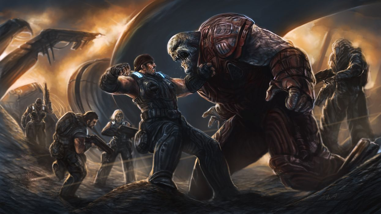 video games Gears of War fantasy art battles artwork Gears Of War 3 Marcus Fenix pc games wallpaper