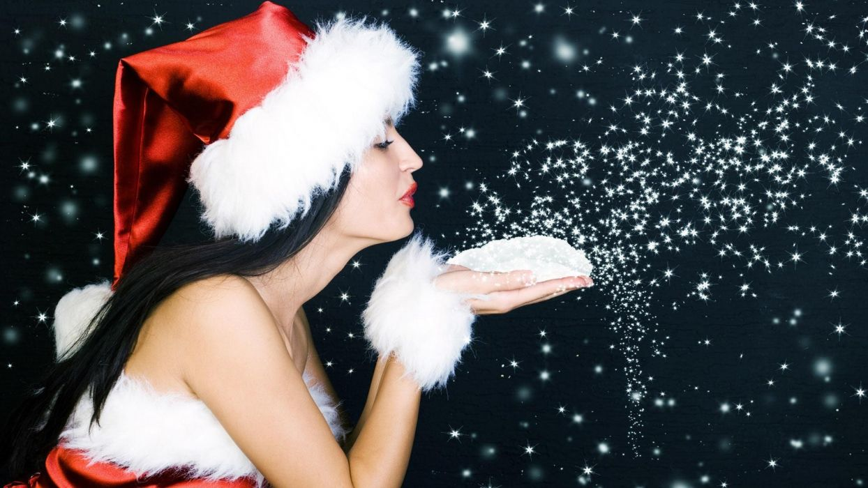 brunettes women snow Christmas Santa Claus hats Santa wallpaper