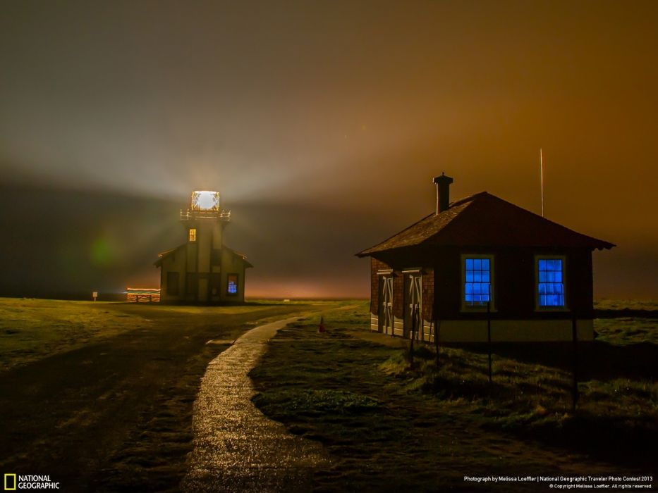 landscapes nature night houses fog California National Geographic wallpaper