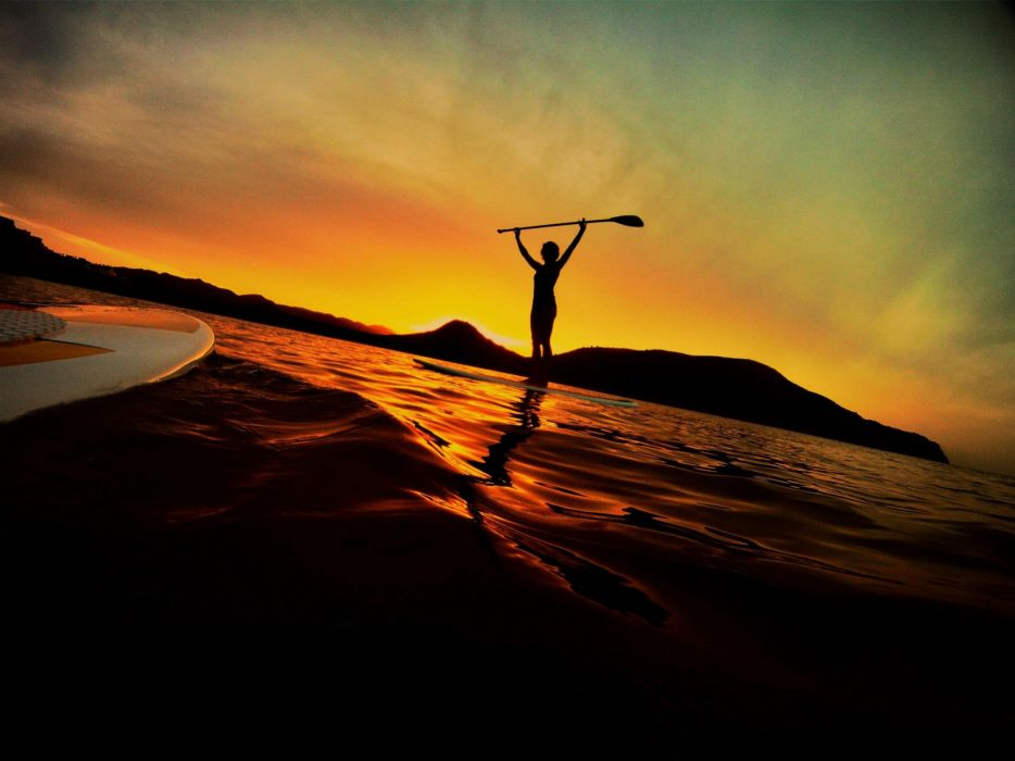 sunset ocean waves paddleboarding board Stand up paddleboarding wallpaper
