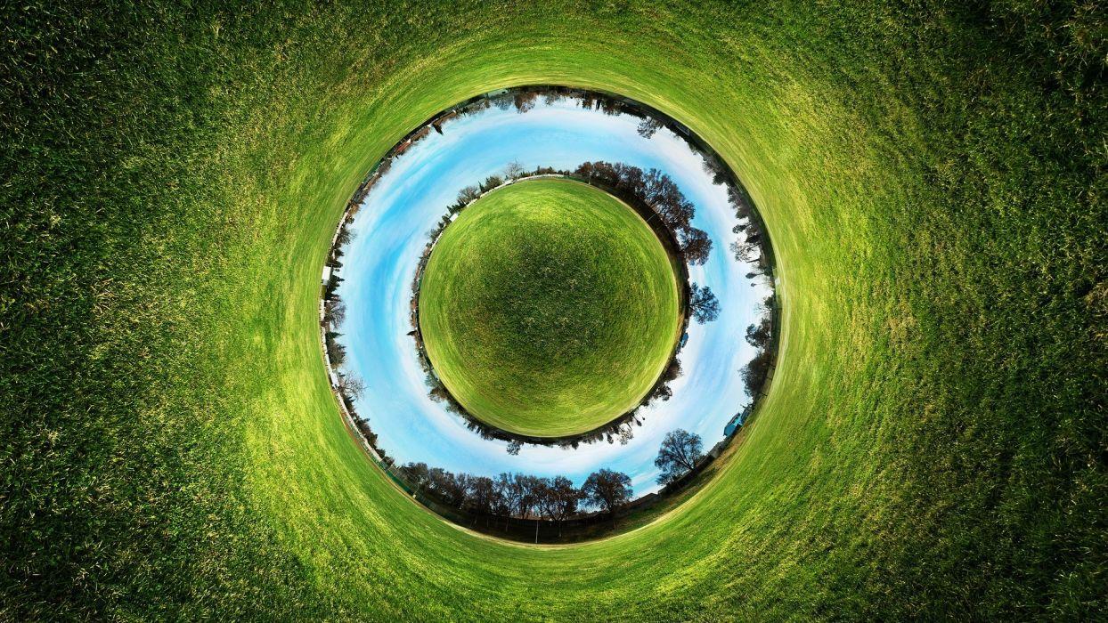 grass circles digital art fisheye effect panorama circle fisheye circle wallpaper