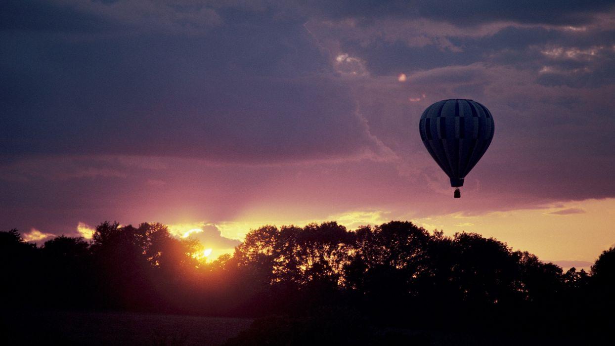 sunset hot air balloons wallpaper