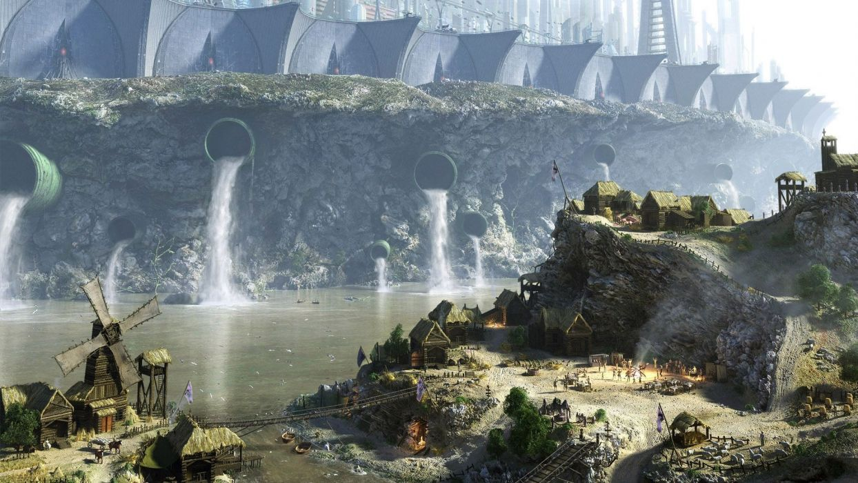 fantasy fantasy art towns windmills rivers wallpaper