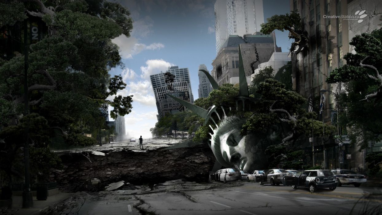 trees cars buildings crack Statue of Liberty apocalyptic photo manipulation wallpaper