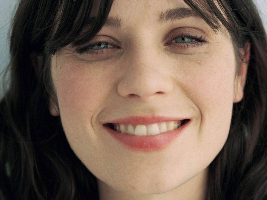 brunettes women actress Zooey Deschanel smiling faces wallpaper