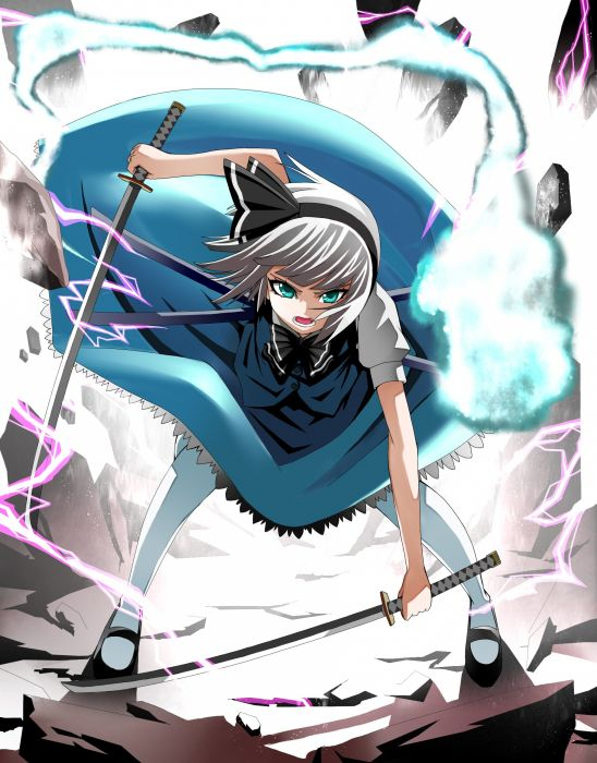 video games Touhou blue eyes katana tie skirts rocks weapons shoes jackets ghosts Konpaku Youmu pantyhose short hair open mouth lightning white hair anime girls hair band swords wallpaper