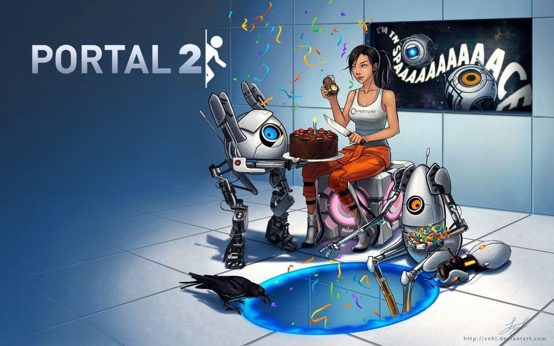 video games Valve Corporation outer space Companion Cube atlas artwork Portal 2 P-body cakes wallpaper