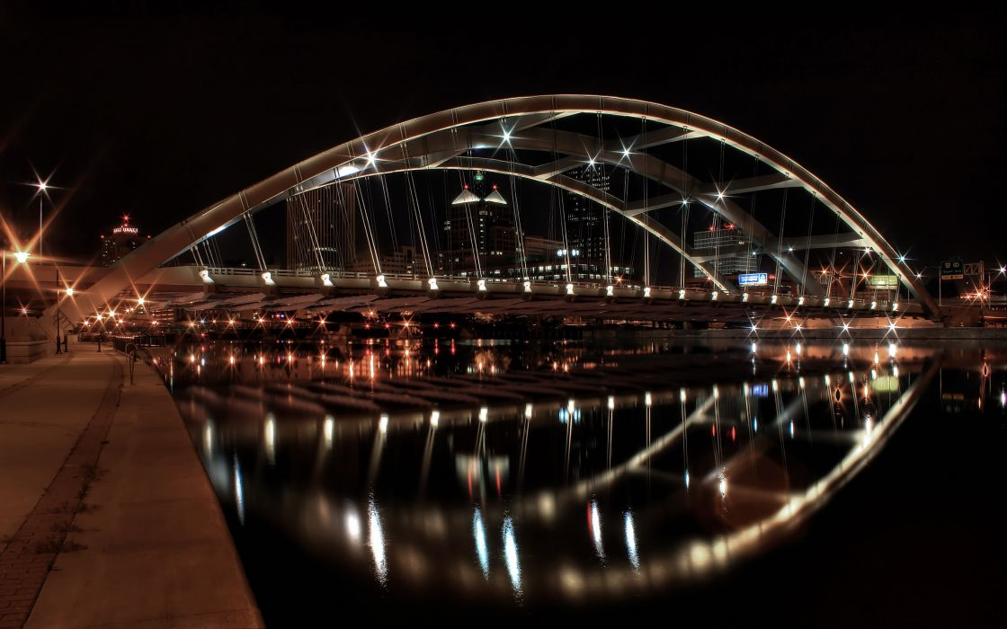 water cityscapes lights bridges buildings New York City wallpaper