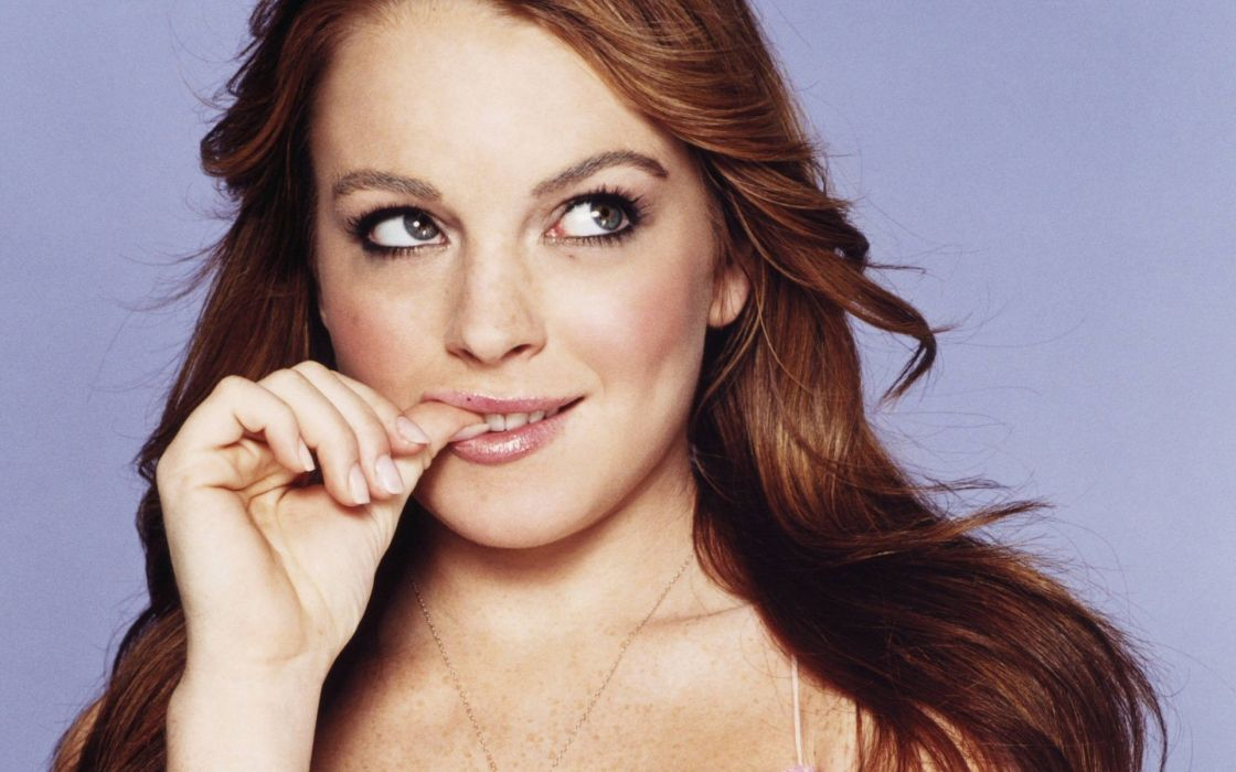 women Lindsay Lohan faces wallpaper