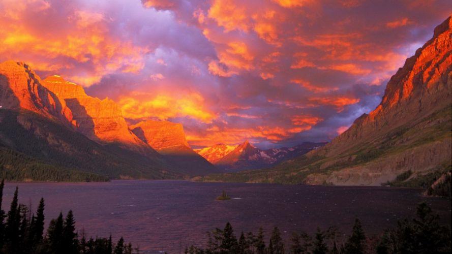 sunrise National Park Glacier National Park Saint Mary Lake wallpaper
