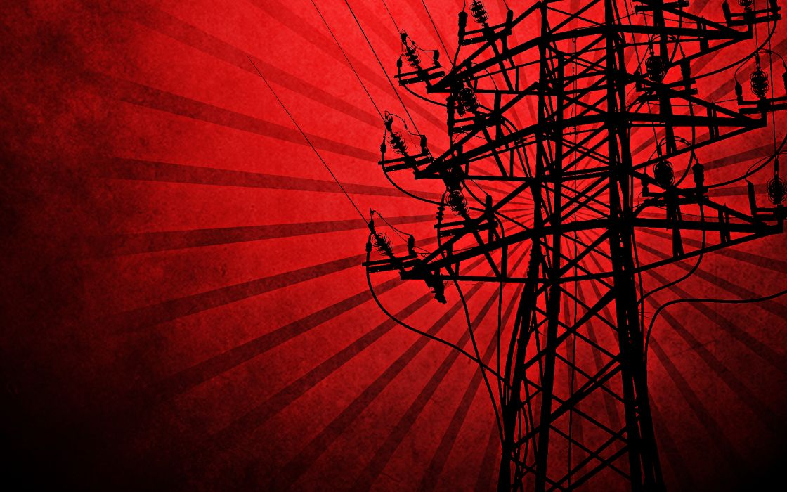 red silhouettes power lines electricity pole vector art wallpaper
