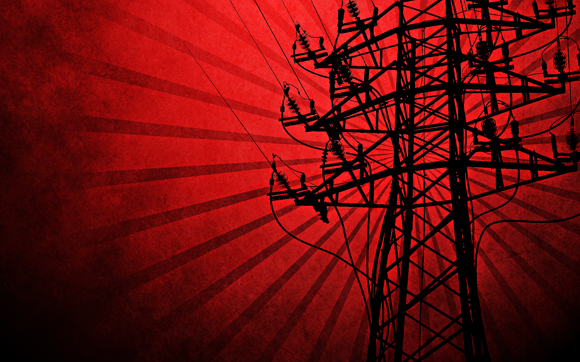 Red silhouettes power lines electricity pole vector art ...