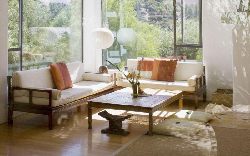 tables interior sunlight furniture living room sofa wallpaper