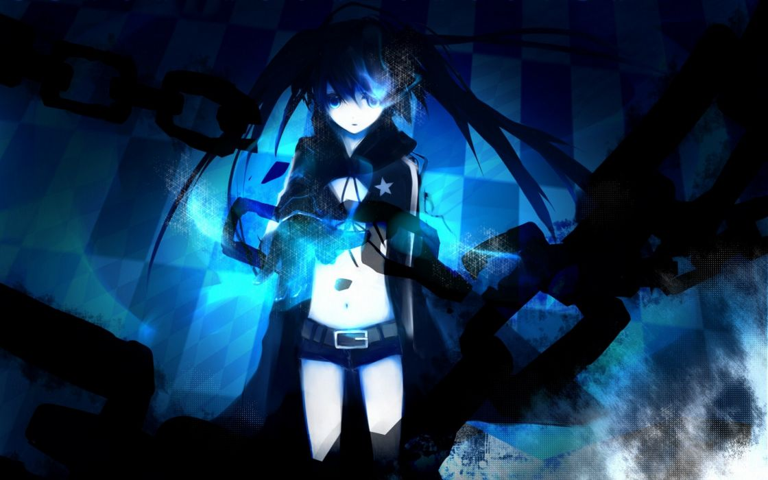 blue Black Rock Shooter blue eyes twintails anime chains anime girls glowing eyes black hair wallpaper
