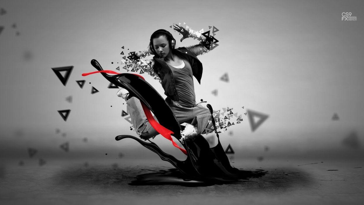 headphones women design digital art artwork visual wallpaper