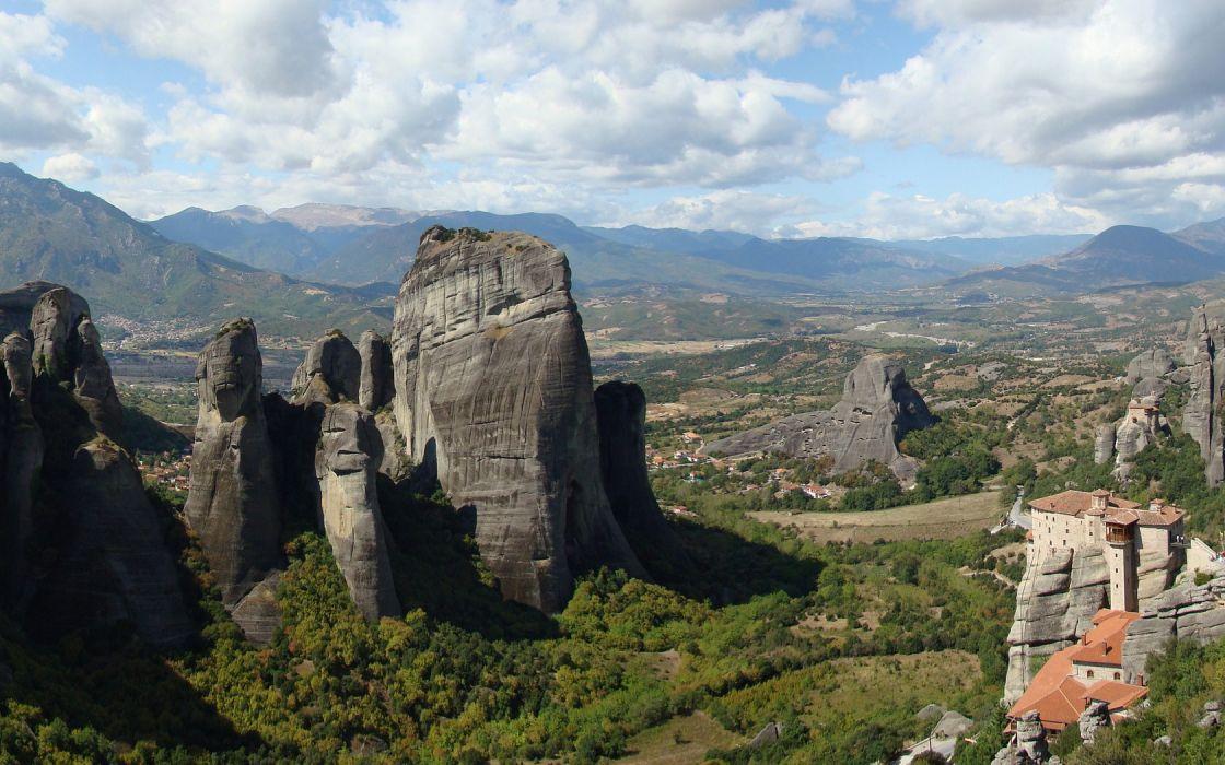 mountains landscapes nature Greece Meteora Zagoria Metsovo wallpaper