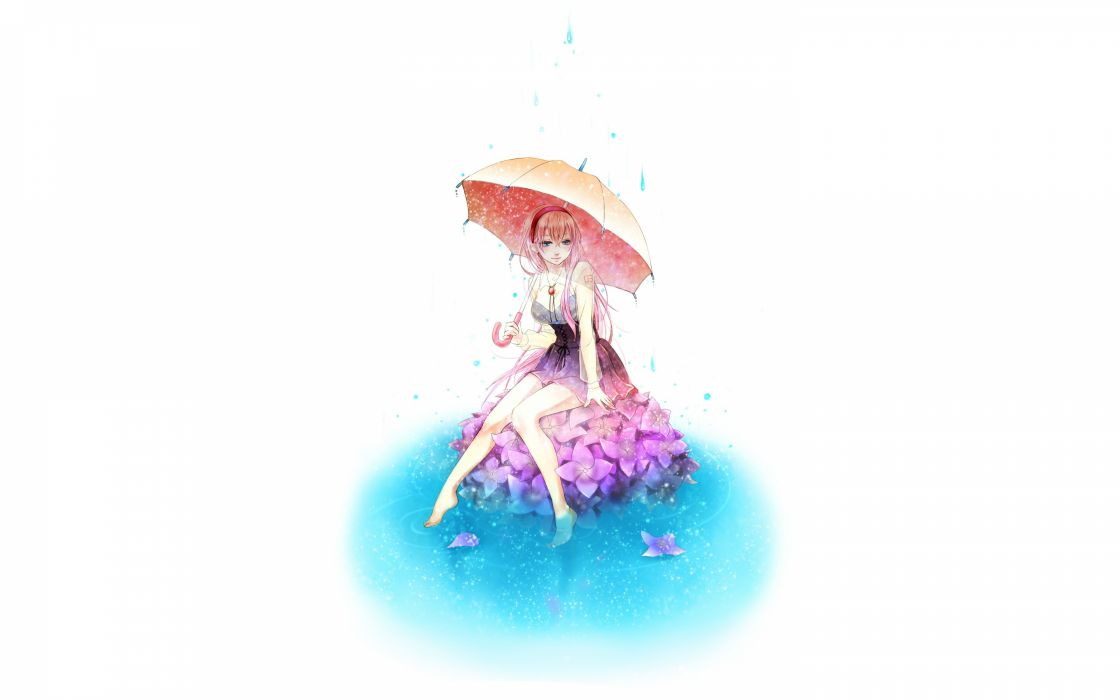 tattoos water Vocaloid dress rain flowers blue eyes Megurine Luka long hair barefoot pink hair see-through smiling sitting umbrellas flower petals simple background anime girls white background wallpaper