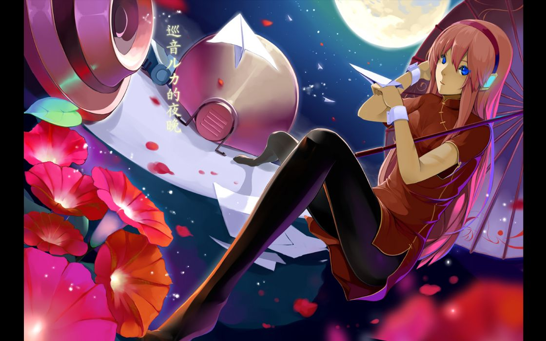 Vocaloid blue eyes Megurine Luka pantyhose chinese dress Chinese clothes wallpaper