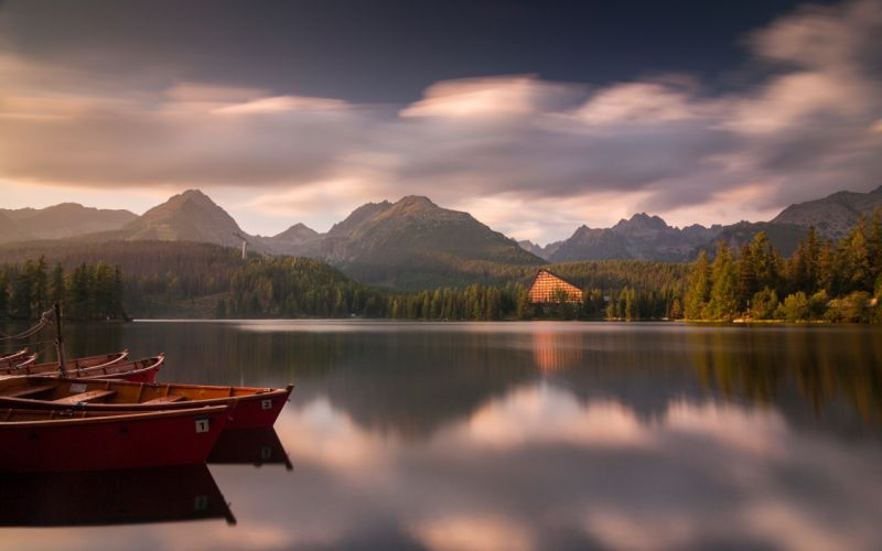 clouds landscapes nature forests hills calm boats sunlight lakes HDR photography reflections Slovakia wallpaper